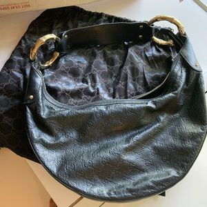 Authentic Gucci horse bitten black handbag